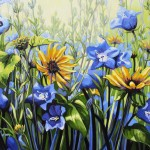 "Bluebells & Sunflower 30"" x 24"" (oil on canvas)"