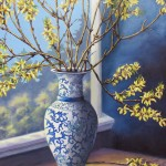 "Blue Vase With Forsythia 30"" x 24"" (oil on canvas)"