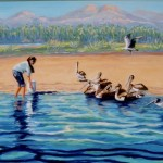 "Feeding the Pelicans 20"" X 24"" (oil on canvas) Sold"
