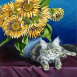 "Feline and Sunflower 28"" x 22"" (oil on canvas)"