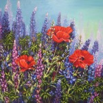 "Lupines and Poppies 48"" x 72"" (oil on hardboard)"