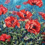 "Scarlet Beauties 24"" x 30"" (oil on canvas) Sold"