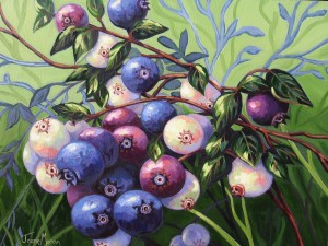"Wild Blueberries 2 20"" x 24"" (oil on canvas) Sold"