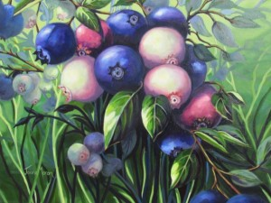 "Wild Blueberries 1  20"" x 24""   (oil on canvas)  Sold"