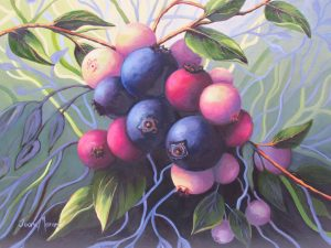 "Wild Blueberries 3 20"" x 24"" (oil on canvas)"